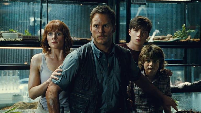 Bryce Dallas Howard, left, Chris Pratt, Nick Robinson and Ty Simpkins in Jurassic World.