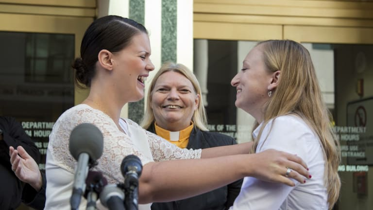 Jennifer Melsop and Erika Turner after they were married at the Arlington Courthouse in Virginia.