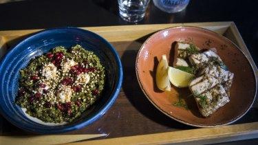 Dishes served over lunch at Gazi Greek restaurant over lunch with Holocaust survivor and memoirist Baba Schwartz.
