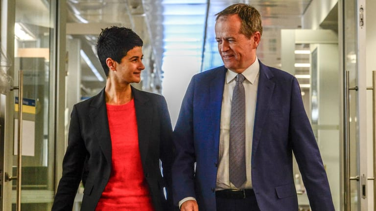 Opposition Leader Bill Shorten with Labor's candidate for Melbourne, Sophie Ismail.