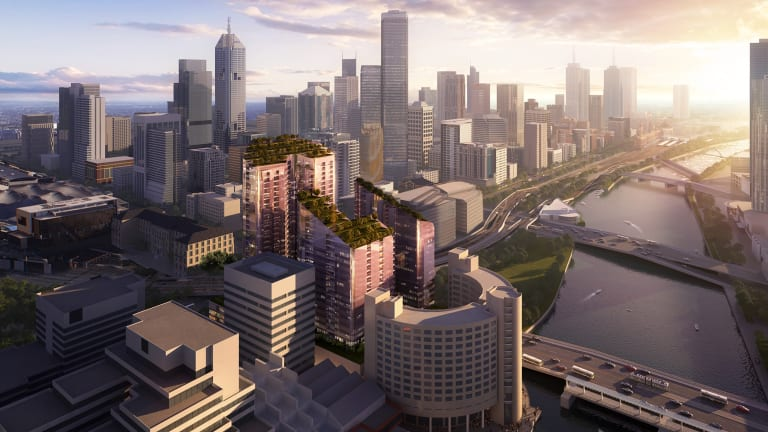 An artist's impression of the plan for the old trade and convention centre site on Flinders Street.