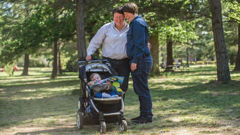 Jodie Vaile, Jen Simpson and son Felix Simpson-Vaile  celebrated the 'yes' vote in Haig Park.