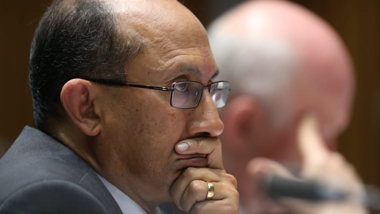 DFAT secretary Peter Varghese in estimates hearings during which Senator Penny Wong asked about Foreign Minister Julie Bishop's use of emojis.