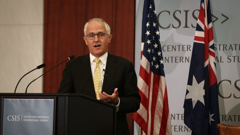Prime Minister Malcolm Turnbull delivers a speech to the Centre for Strategic and International Studies in Washington, DC.