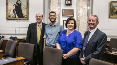 The class of 2016: Brisbane City Council's newest councillors Charles Strunk (Labor), Jonathan Sri (Greens), Kate Richards and Adam Allan (both LNP).