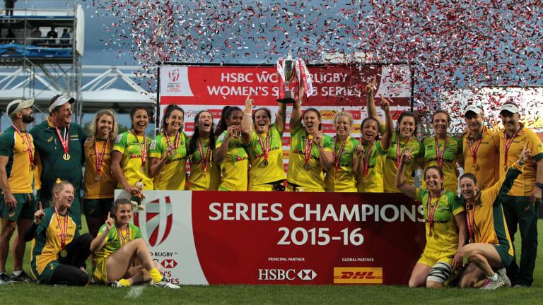 Champions: The Australian womens sevens team celebrate.