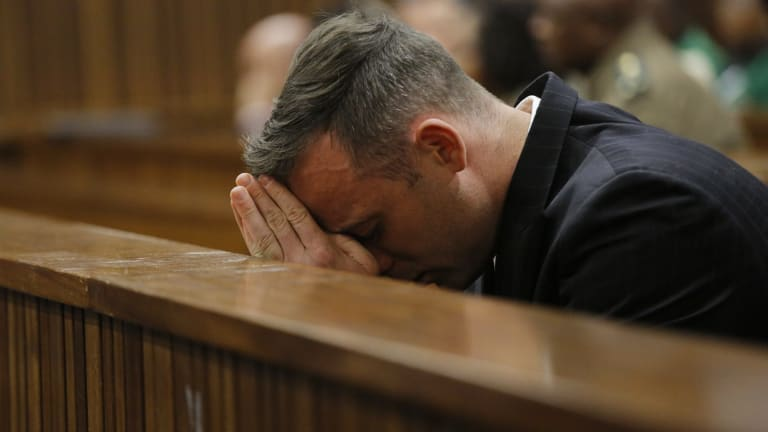 Pistorius sits inside the dock during his sentencing proceedings at the High Court in Pretoria earlier this month.