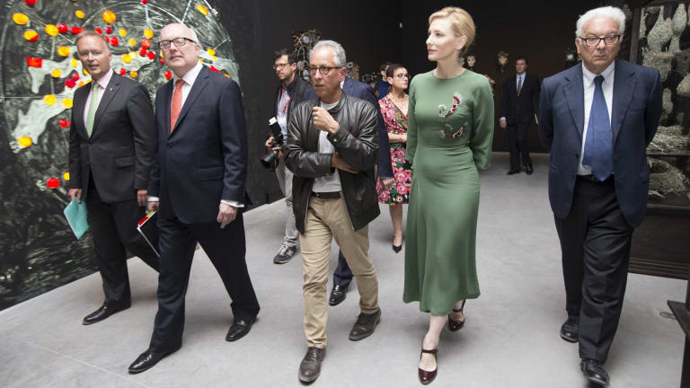 Australia Council chairman Rupert Myer and Minister for Arts George Brandis view the new Australian Pavilion in Venice with Simon Mordant and Cate Blanchett.