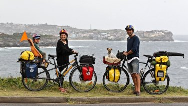 Once a jolly swag family: Patrick Jones, Meg Ulman,  their son Woody and dog Zero cycled  6000 kilometres around Australia.