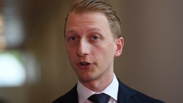 Liberal senator James Paterson, pictured in Canberra on Monday, has drafted an alternative bill to legalise same-sex marriage.