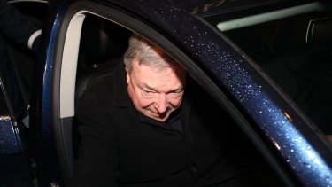 Cardinal George Pell leaves the Quirinale Hotel in Rome after his second day of giving evidence to the royal commission via videolink.
