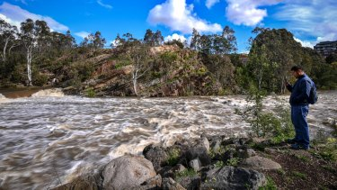 The Dights Falls on the Yarra River after three days of heavy rain.