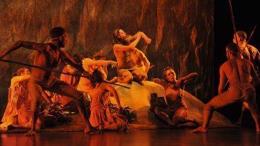 Evocative: Dancers from the Bangarra Dance Theatre  perform  Eora, the opening dance in Patyegarang.