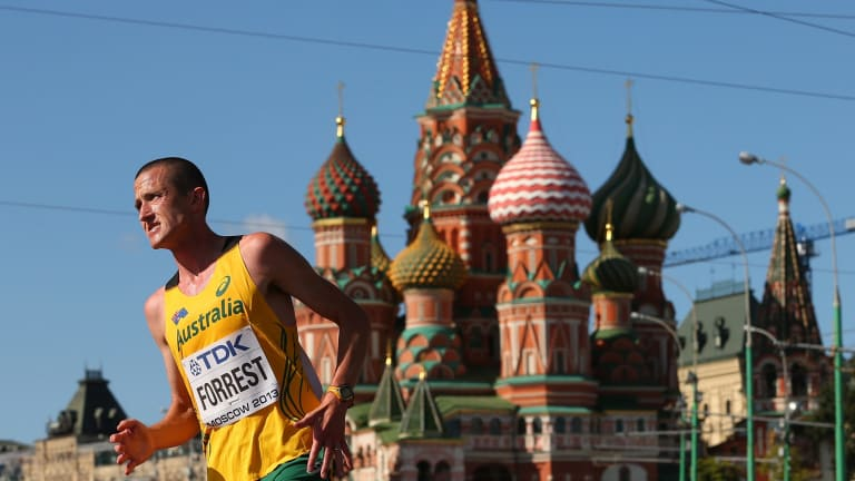 Shawn Forrest competing at the 2013 World Athletics Championships in Moscow.