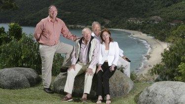 Hamilton Island Owner, Billionaire, Mr Bob Oatley, with his children, Sandy, left, and Ian and Ros, overlooking Hamilton Island's main beach