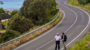 Victoria's Emergency Management Commissioner Craig Lapsley and Premier Daniel Andrews on the Great Ocean Road at Wye River.
