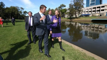 NSW Premier Mike Baird and Powerhouse Museum director Dolla Merrillees, pictured in April, opposite the proposed new site for the museum in Parramatta.