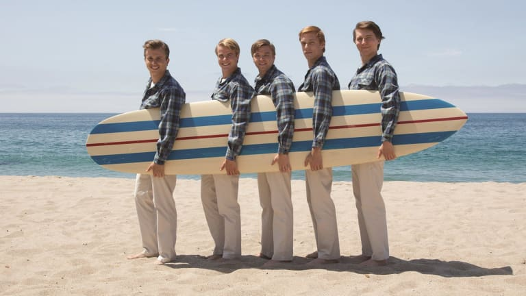 <i>Love and Mercy's</i> Beach Boys (from left) Dennis Wilson (Kenny Wormald), Al Jardine (Graham Rogers), Carl Wilson (Brett Davern), Mike Love (Jake Abel) and Brian Wilson (Paul Dano).