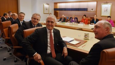 Treasurer Scott Morrison, Prime Minister Malcolm Turnbull and Deputy Prime Minister Warren Truss at a gathering of leaders from business, unions and community.
