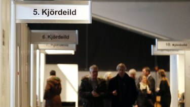 People arrive to vote in Reykjavik, Iceland, in last year's election.