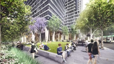 An artist's impression of a new park to be built at the corner of Market Street and Collins Street by developer CBUS.