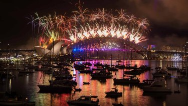 The New Year's Eve fireworks on Sydney Harbour, viewed from Mrs Macquarie's Chair.
