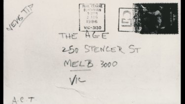 On August 4, 1986, The Age received a letter from a group calling itself the Australian Cultural Terrorists.