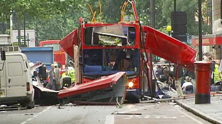 The wreckage of a London bus after bomb on board exploded in Tavistock Square, London.