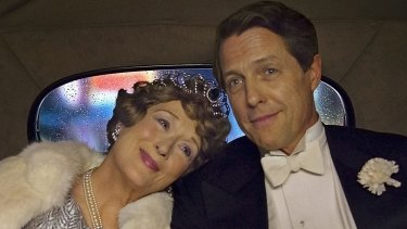 Florence Foster Jenkins (Meryl Streep) and St Clair Bayfield (Hugh Grant) in a scene from the movie <i>Florence Foster Jenkins</i>.
