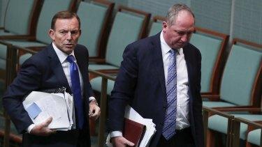 Former prime minister Tony Abbott and former deputy prime minister Barnaby Joyce leave QT today.