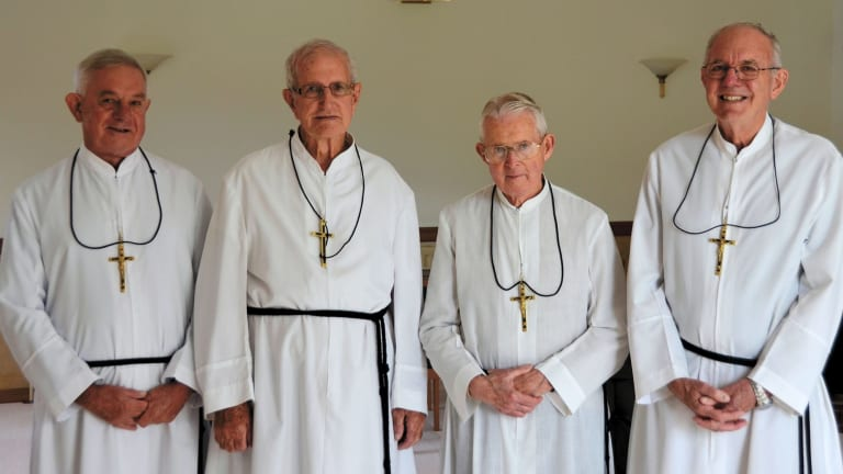 Canberra's remaining Marist Brothers, from left, Brother Tony Shears, Brother Kevin Murray, Brother Anthony Atkinson and Brother Lawrie McCane  are expected to leave Canberra around the middle of the year.
