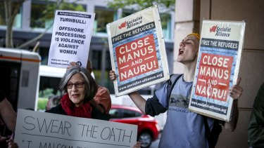 A rally outside the Immigration Department offices in Melbourne on Monday.