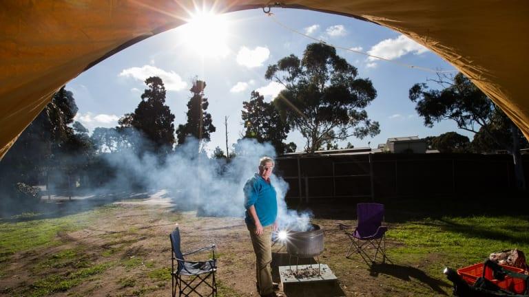Councillor Jim Magee at his Caulfield Racecourse camp site.