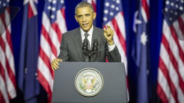 Barack Obama makes his agenda-setting speech at the University of Queensland.