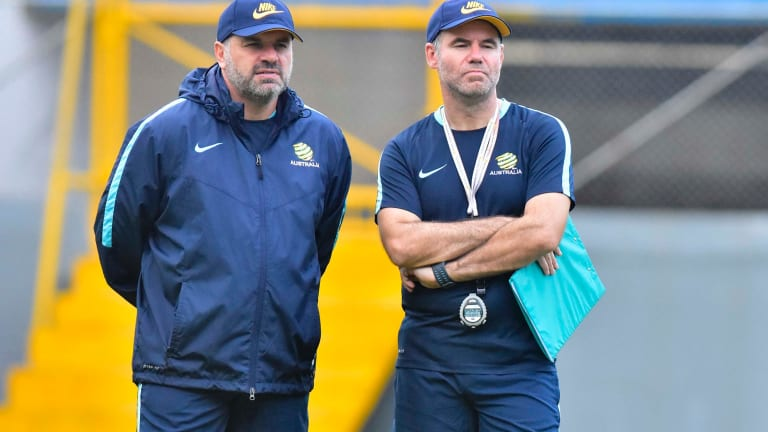 Gamble: Ange Postecoglou is set to stick to his trademark attacking system as the Socceroos seek a vital away goal.