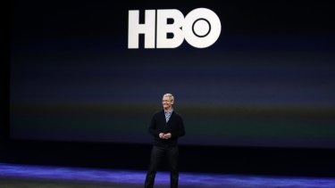 Apple CEO Tim Cook talks about HBO Now during the Apple event.