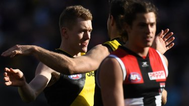 Final countdown: Jacob Townsend (left) after kicking a goal against St Kilda. Photo: AAP