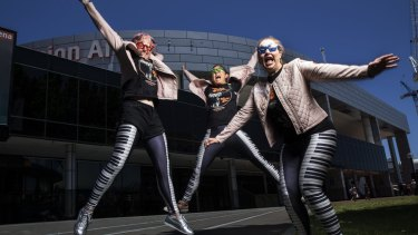 Fans for life: Treena Skeggs-Grant, Natasha Holtmeulen and Rebecca Hawke get ready for Elton John's performance at the Sydney Entertainment Centre.