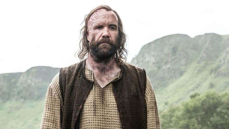 "Sandor ""The Hound"" Clegane has fallen in with the Brotherhood of Banners in Game of Thrones."