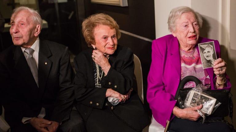 Jewish Holocaust survivors Abram and Cesia Goldberg, and Irma Hanner.