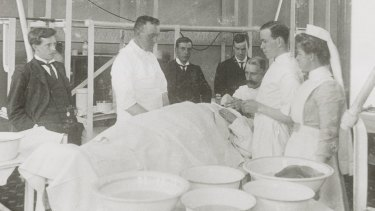 Royal Melbourne Hospital operating theatre in the 1880s.