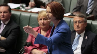 Tea towels with the words of former prime minister Julia Gillard's famous misogyny speech are on sale at the ALP national conference in Melbourne.