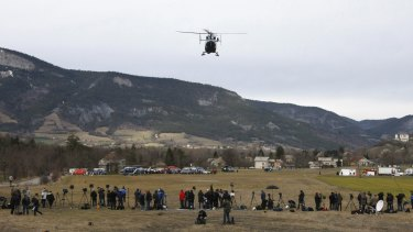 A rescue helicopter taking off from Seyne-les-Alpes, France, to search for the 150 victims who died.