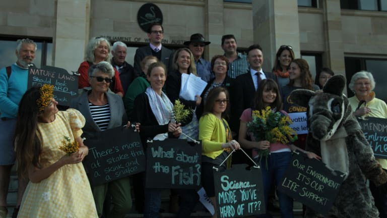 Representatives of The Wilderness Society, WA Forest Alliance, Conservation Council and World Wildlife Fund gathered outside Parliament House in August to plead with the government to re-examine the Bill.
