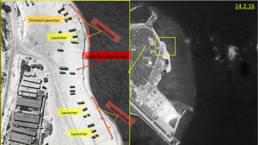 Satellite images of Woody Island, the largest of the Paracel Islands in the South China Sea, showing a surface-to-air missile system .