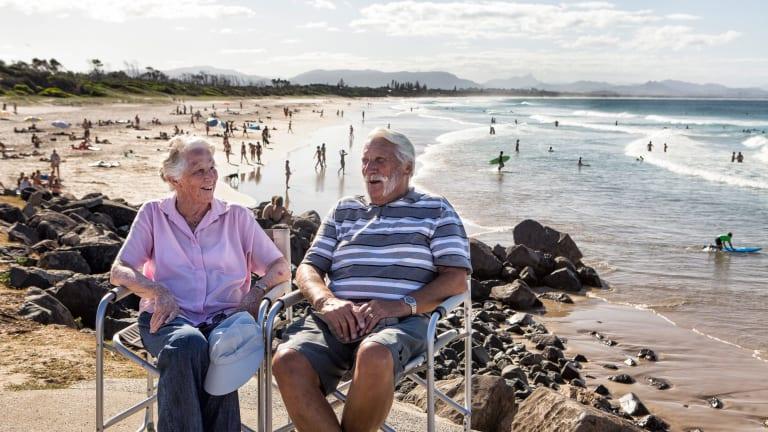 David and Frances Brown near Belongil Beach, Byron Bay.