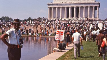 A crowd gathers at the Lincoln Memorial for the March on Washington, featured in <I>I Am Not Your Negro</I>.