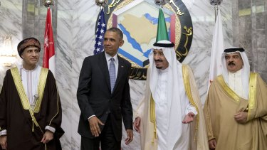Awkward: Barack Obama with Saudi King Salman bin Abdulaziz and Bahrain's King Hamad bin Isa al-Khalifa (far right) and Oman's deputy prime minister in Riyadh.