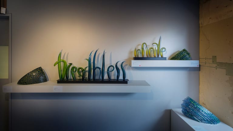 Harriet Schwarzrock, <i>breathless</i>, 2016, in <i>defining moments</i> at Canberra Glassworks.