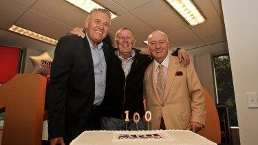 2GB's Ray Hadley, majority shareholder John Singleton and Alan Jones celebrate their radio ratings success in 2016.
